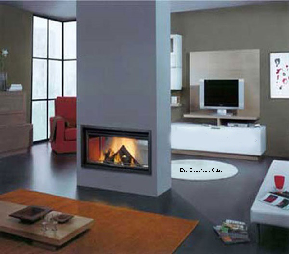 chemin e 08 insert central avec vue du feu sur deux c t s. Black Bedroom Furniture Sets. Home Design Ideas