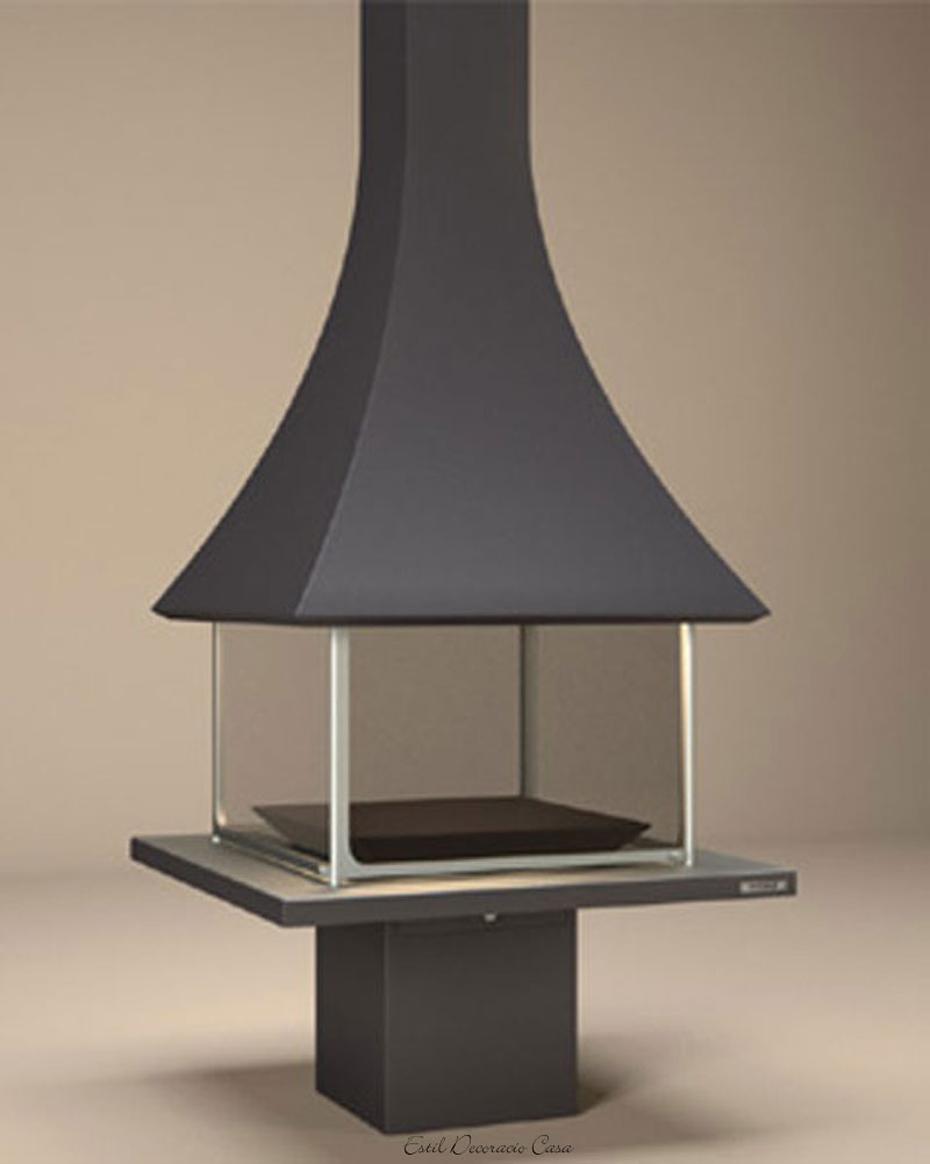 magnifique chemin e 10 centrale feu ouvert avec sa hotte. Black Bedroom Furniture Sets. Home Design Ideas