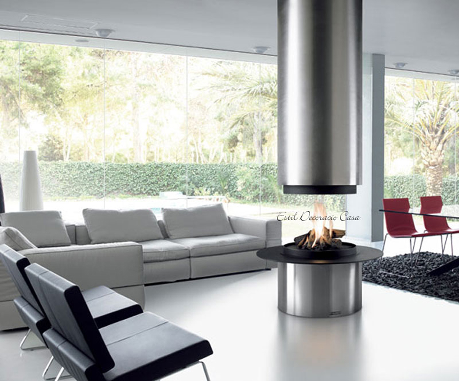 chemin e gaz 77 centrale de forme ronde avec un design modern puissante et pas ch re. Black Bedroom Furniture Sets. Home Design Ideas