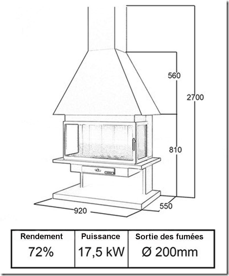 cheminée 3 faces 95