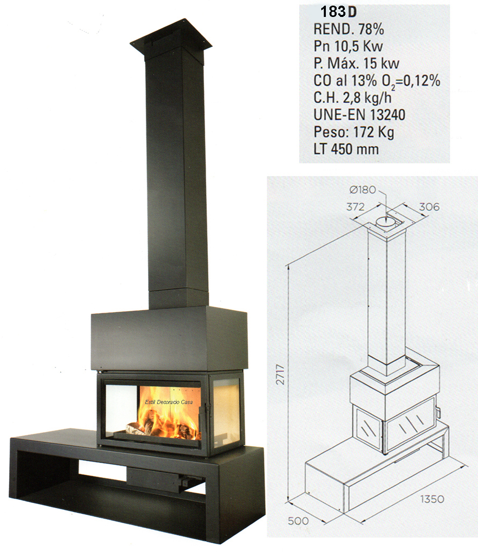 cheminée 3 côtés bois
