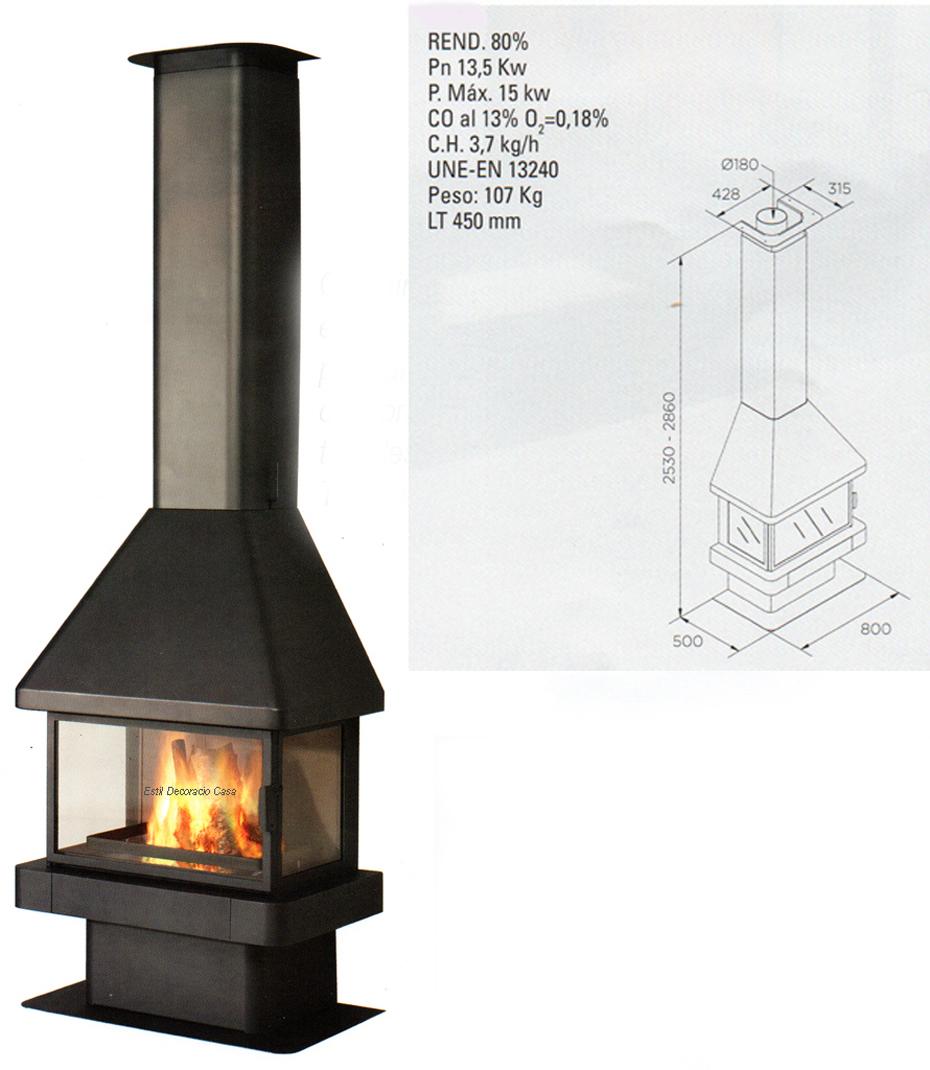 cheminée bois 3 faces