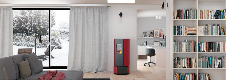 po le granul pellet gard avec un foyer pivotant sur 180. Black Bedroom Furniture Sets. Home Design Ideas